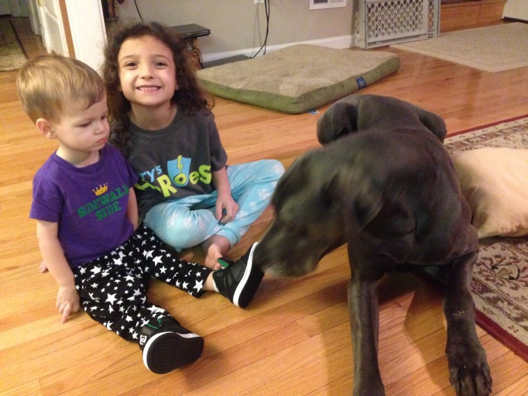 Harry, my goddaughter Lily, and Wyatt the big dumb Great Dane!