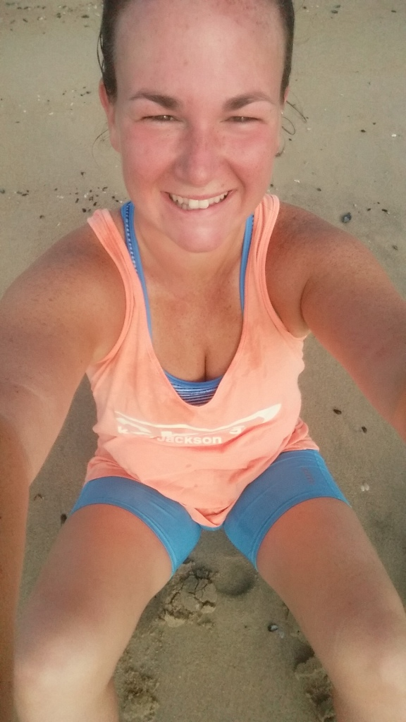 Early morning boardwalk runs are best ended with your toes in the sand!