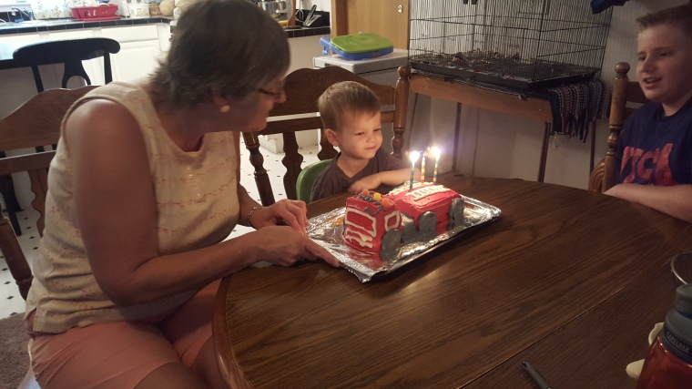 Grandma made Harry a beautiful and delicious firetruck cake!